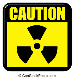 attenzione, 3d, radioattivo, segno