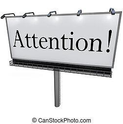 attenzione, parola, su, tabellone, speciale, annuncio,...