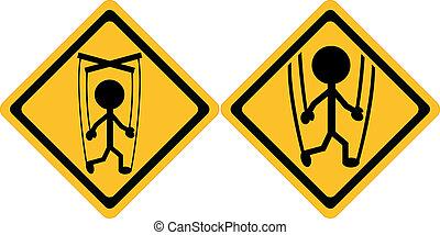 attenzione, persone, manipolazione, segno