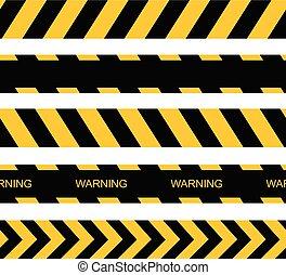 attenzione, seamless, vettore, tapes., lines., avvertimento