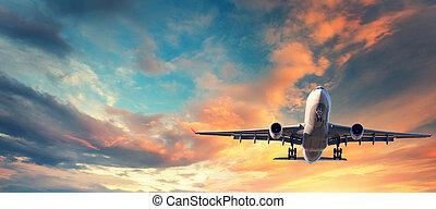atterraggio, aeroplano., paesaggio, con, bianco, passeggero, aeroplano