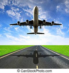 atterraggio, passeggero, aeroplano