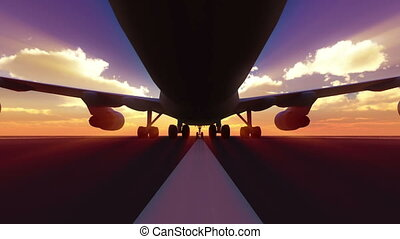 atterrissage, 3d, piste, avion