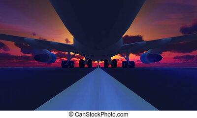 atterrissage avion, 3d, piste