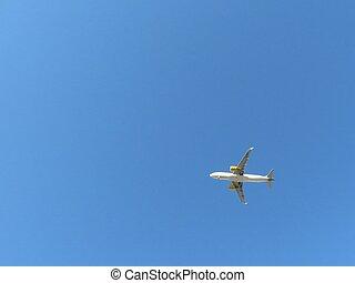 atterrissage, avion, aéroport, prendre, beau, terre, photo