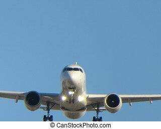 atterrissage, avion, photo, aéroport, prendre, terre, beau