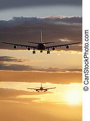 atterrissage, -, deux, avions, dans, les, ligne