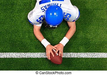 atterrissage, joueur, football américain, aérien