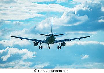 atterrissage, passager, plane.
