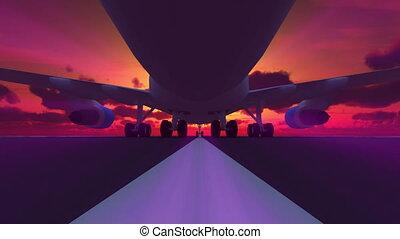 atterrissage, piste, 3d, avion