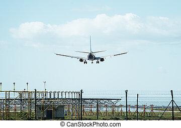 atterrissage, piste atterrissage, avion, en-tête
