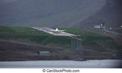 atterrissage, piste, ombre, slow-mo, faroe, avion, îles