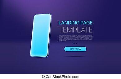 atterrissage, promo, moderne, gabarit, page, smartphone