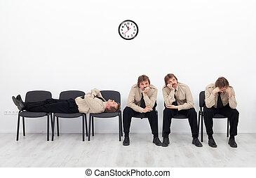 attesa, annoiato, persone
