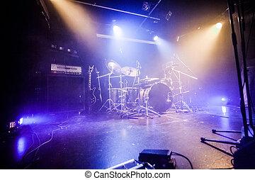 attesa, drumkit, palcoscenico, vuoto, musicisti