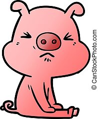 attesa, maiale, arrabbiato, cartone animato, seduto