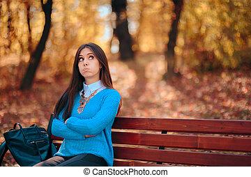 attesa, triste, panca, parco, solo, donna