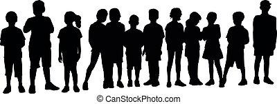 attesa, vettore, silhouette, linea, bambini