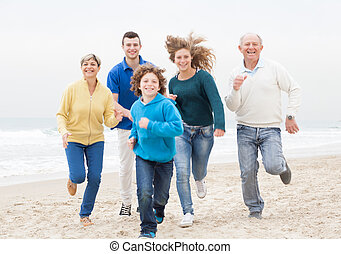 atthe, jogging, plage, famille, heureux
