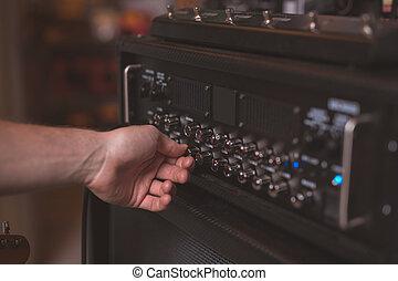 atthe, paneel, muziek, hand van de man