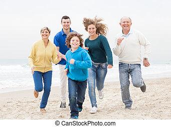 atthe, sacudindo, praia, família, feliz