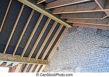 Attic framework under construction and renovation