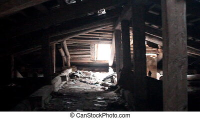 attic of a ruined house - very old dilapidated dangerously...
