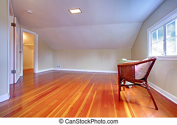 Attic small room with hardwood floor