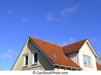Attic with red tile roof