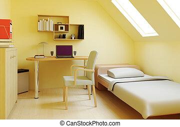 attico, camera letto, o, soffitta