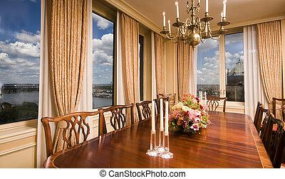 attico, città, stanza, cenando, york, nuovo, vista