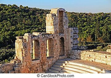atticus, teatro, atenas, herodes, odeon, grecia, acrópolis