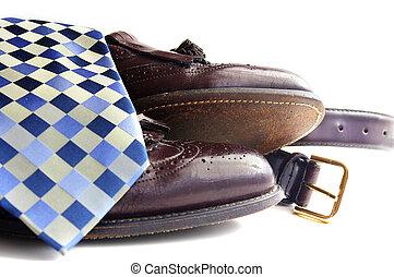 attire:, ceinture, cravate, business, chaussures