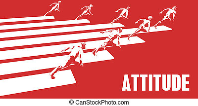 Attitude with Business People Running in a Path