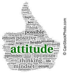 attitude, concept, étiquette, nuage