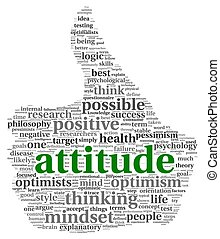 Attitude concept in tag cloud - Attitude concept in word tag...