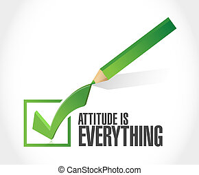 attitude is everything check mark sign concept