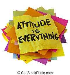 attitude is everything - motivational slogan on a stack of...