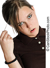 Attitude - A teenage girl with an annoyed expression