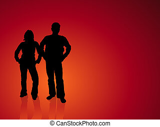 Silhouettes of confident young people