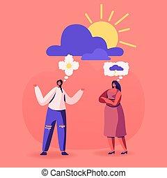 attitudes., discutere, nuvola, vita, appartamento, detenere...