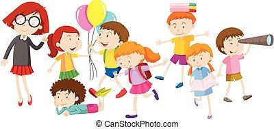 attività, differente, bambini