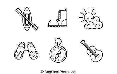 attività, esterno, andando gita, campeggio, icone, set, illustrazione, simboli, lineare, vettore, fondo, bianco, ricreazione