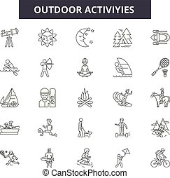 attività, esterno, contorno, set, attività, icone, illustration:, vector., segni, linea, concetto