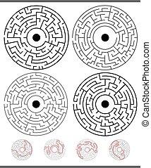 attività, gioco, set, soluzioni, labirinto