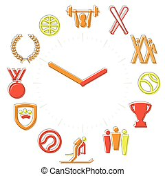 attività, icone, orologio, sfera, time., hours., sport