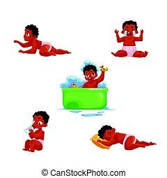 attività, infante, routine, quotidiano, americano, africano, bambino, nero, capretto