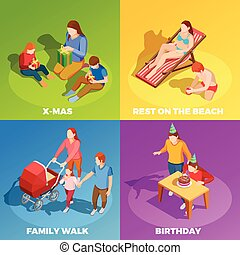 attività, isometrico, quadrato, famiglia, icone, 4