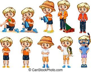 attività, ragazzo, bianco, differente, fondo