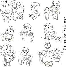 attività, set, routine quotidiana, cartone animato, capretto